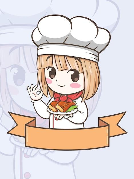 Милая девушка шеф-повара барбекю держит курицу-гриль - мультипликационный персонаж и иллюстрация логотипа Premium векторы