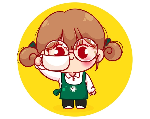 Cute barista in apron holding a coffee cup cartoon character illustration Free Vector