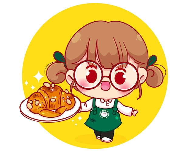Cute barista in apron holding plate croissant cartoon character illustration Premium Vector