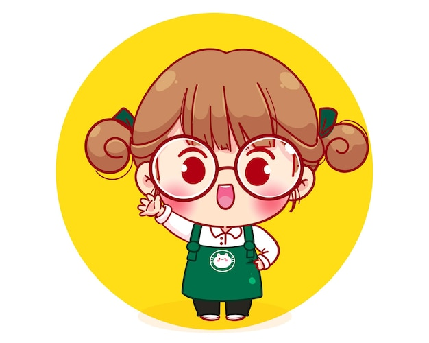 Cute barista character in apron cartoon character illustration Premium Vector