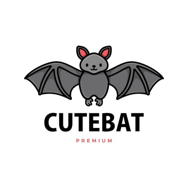 귀여운 박쥐 만화 로고 아이콘 그림 프리미엄 벡터