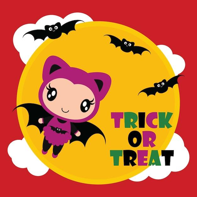 할로윈 카드 디자인, 벽지 및 아이 티셔츠 디자인을위한 검은 박쥐 벡터 만화 일러스트와 함께 귀여운 박쥐 소녀 비행 프리미엄 벡터