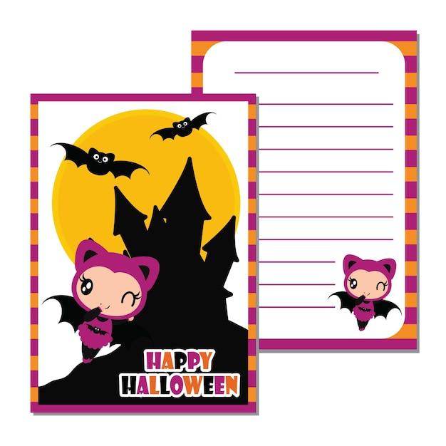 할로윈 카드 디자인, 편지지 종이 및 엽서 성 배경 벡터 만화 일러스트 레이 션에 귀여운 박쥐 소녀 프리미엄 벡터