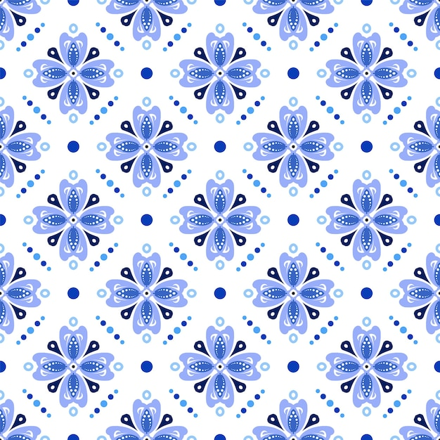 Cute batik blue pattern Premium Vector