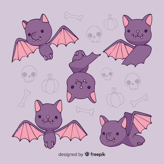 Cute bats with bones in background Free Vector
