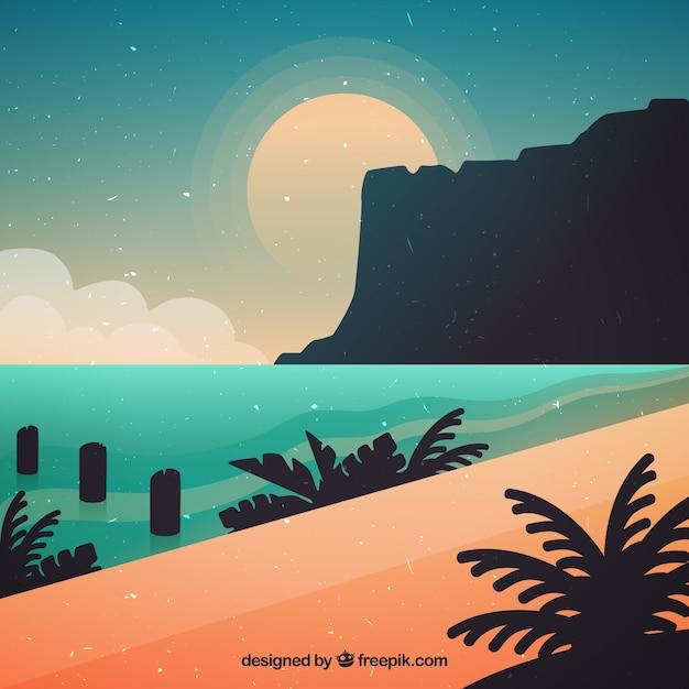 Cute beach at sunset background