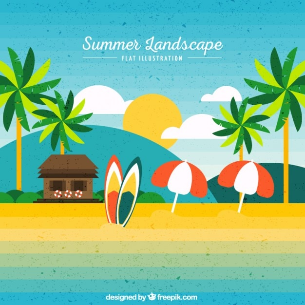 Cute Beach Landscape Background Vector Free Download