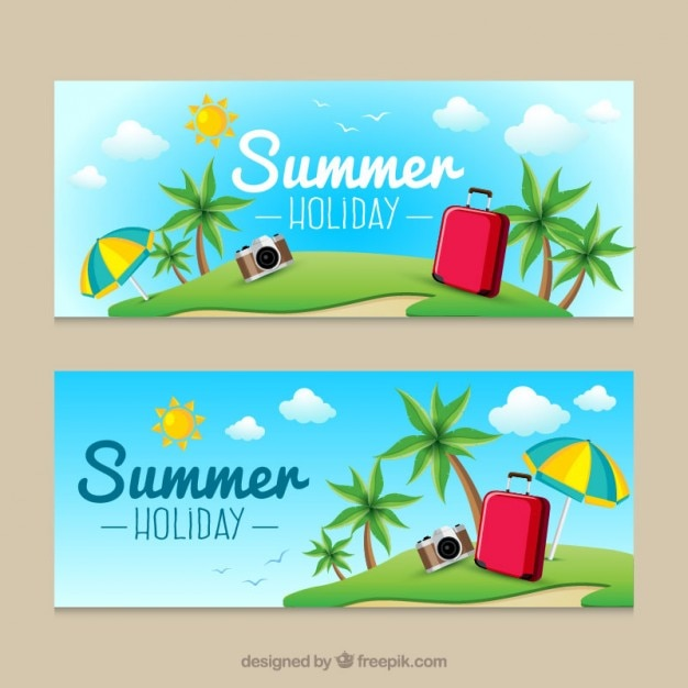 Cute beach with luggage summer banners Free Vector