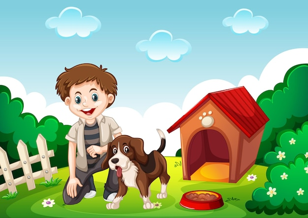 Un simpatico beagle con il suo proprietario sulla scena del giardino Vettore gratuito