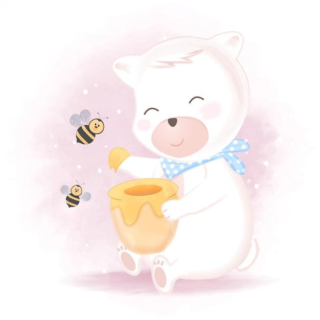 かわいいクマと蜂蜜の瓶のイラストが蜂 プレミアムベクター