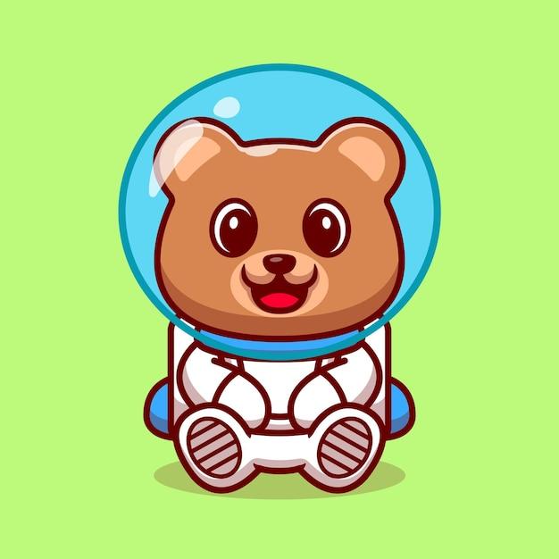 かわいいクマ宇宙飛行士の漫画イラスト。 無料ベクター
