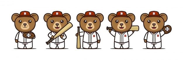 Cute bear baseball mascot design Premium Vector