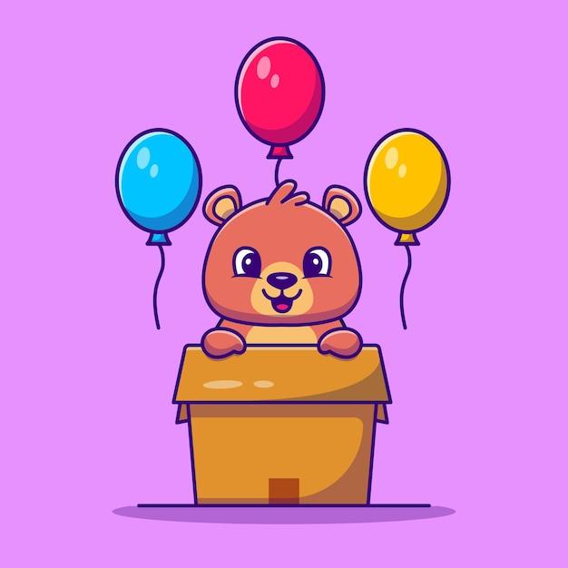 Simpatico orso in scatola con palloncini fumetto illustrazione vettoriale. vettore isolato di concetto di amore animale. stile cartone animato piatto Vettore gratuito