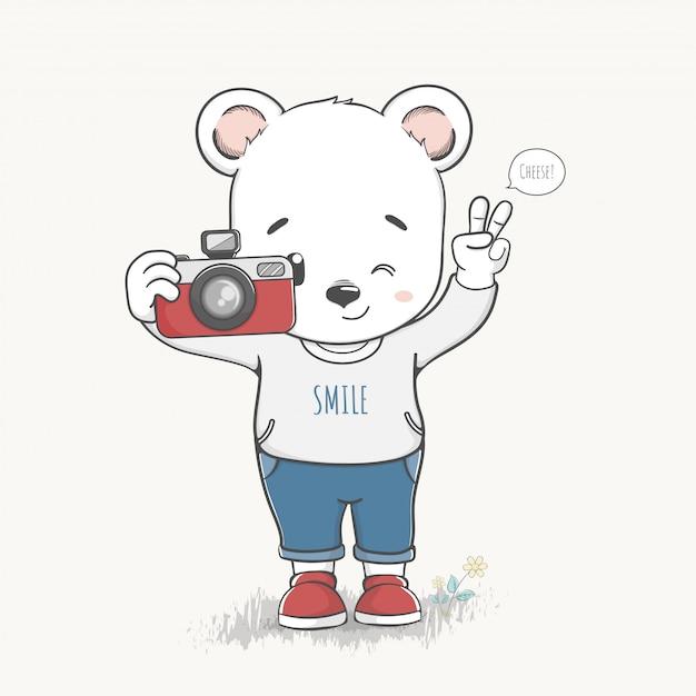 Cute bear boy take a photo cartoon hand drawn vector Premium Vector