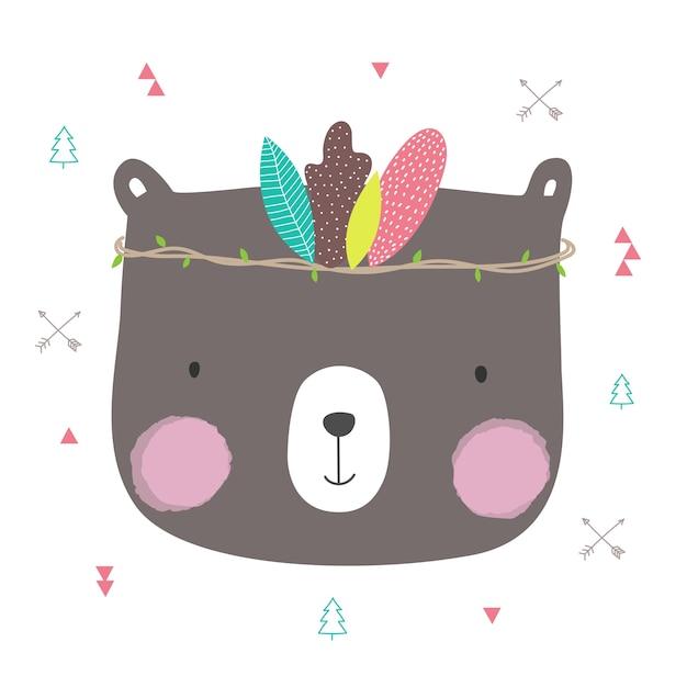Cute bear cartoon hand drawn for greeting card design. Premium Vector