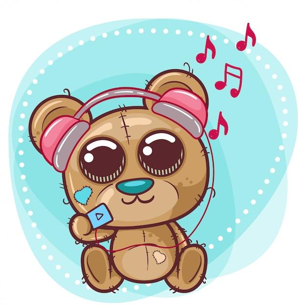 Cute bear cartoon with headphone Premium Vector