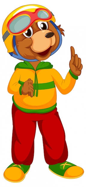 A cute bear character Free Vector