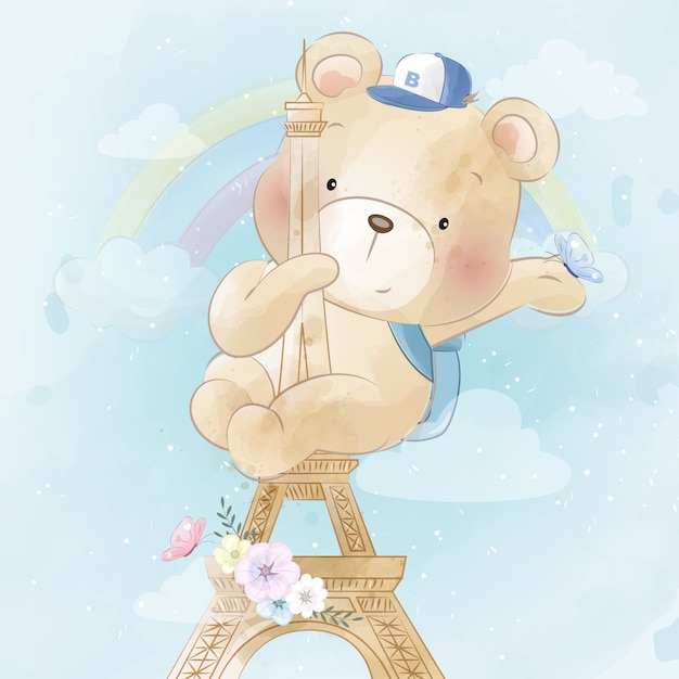 Милый медведь ползет по парижской башне Premium векторы