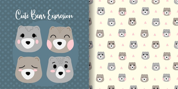 Cute bear face animal seamless pattern with baby card Premium Vector