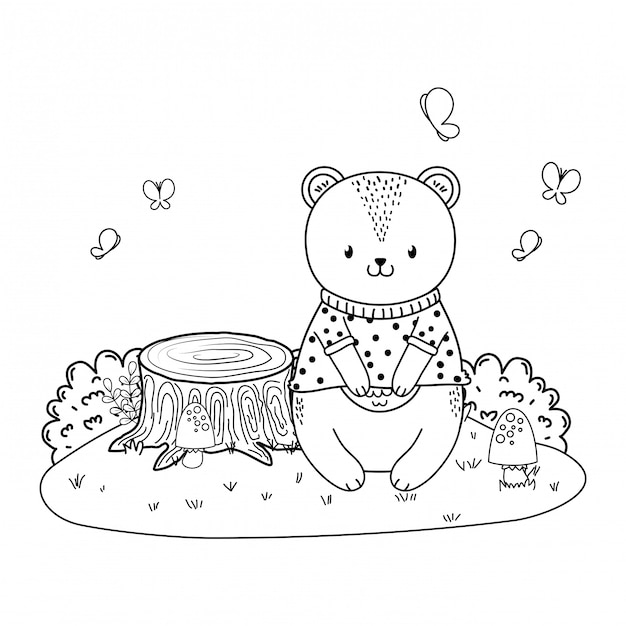 Cute bear in the field woodland character Premium Vector