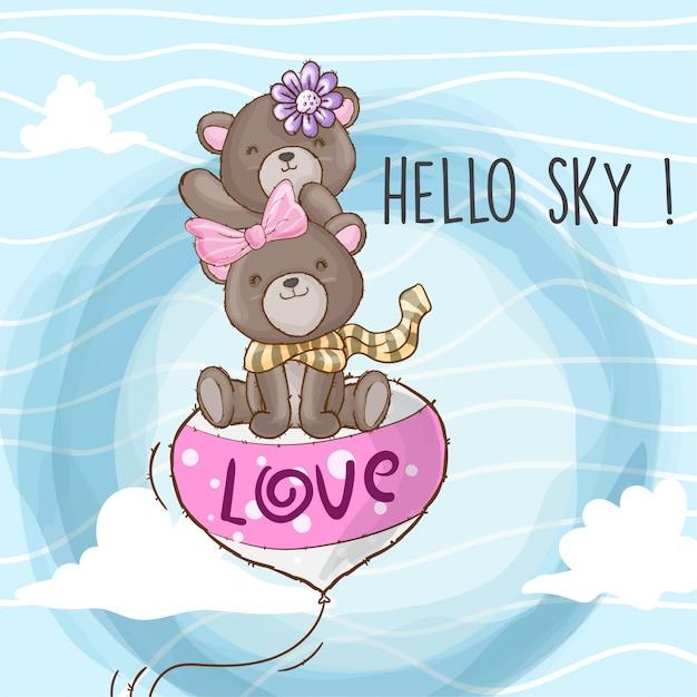 Cute bear flying on a balloon hand drawn animal Premium Vector