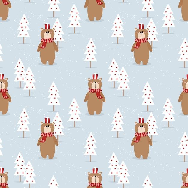 Cute bear and gift in christmas season seamless pattern Premium Vector