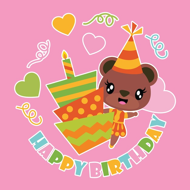 Cute bear girl and birthday cake cartoon Vector Premium Download
