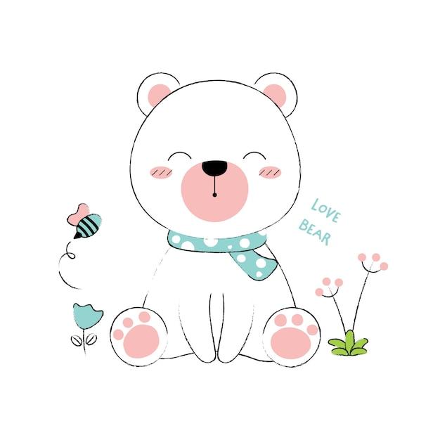 Cute bear hand drawn style Premium Vector