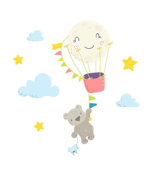 熱気球に掛かっているかわいいクマさん Premiumベクター