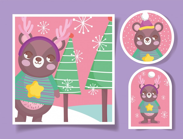 Cute bear happy christmas tags and card Premium Vector