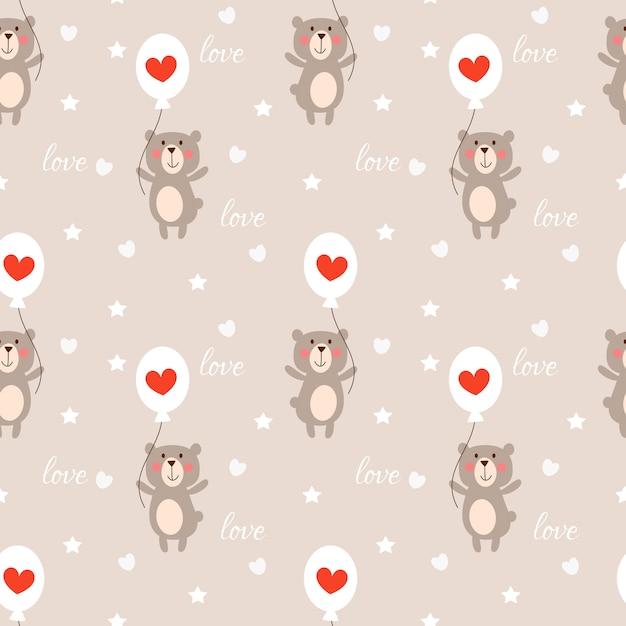 Cute bear and heart balloon seamless pattern. Premium Vector
