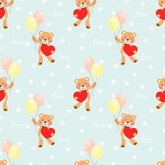 Cute bear hold a big heart seamless pattern. Premium Vector