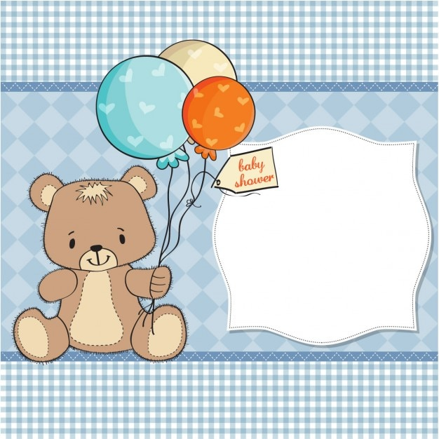 Cute bear holding balloons for baby\ shower