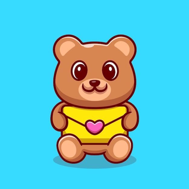 봉투 만화 그림을 들고 귀여운 곰입니다. 무료 벡터