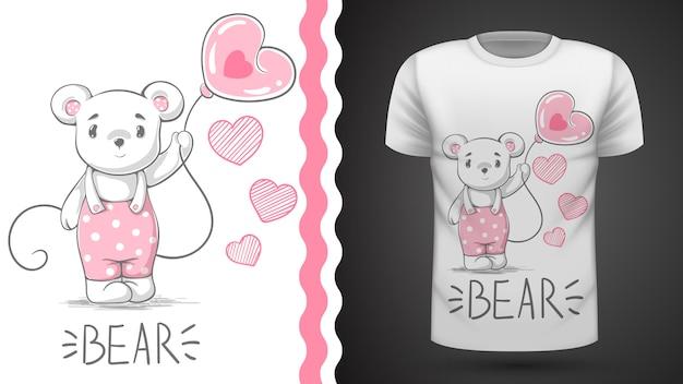 Cute bear idea for print t-shir Premium Vector