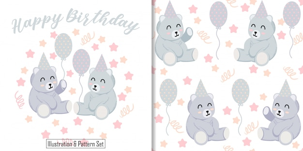 Cute bear illustration animal card with teddy seamless pattern set Premium Vector