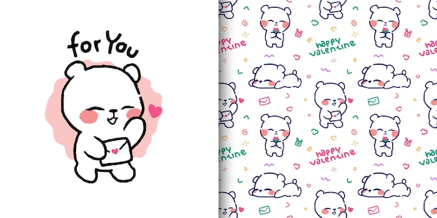 Cute bear illustration with love letter and seamless pattern designs Premium Vector