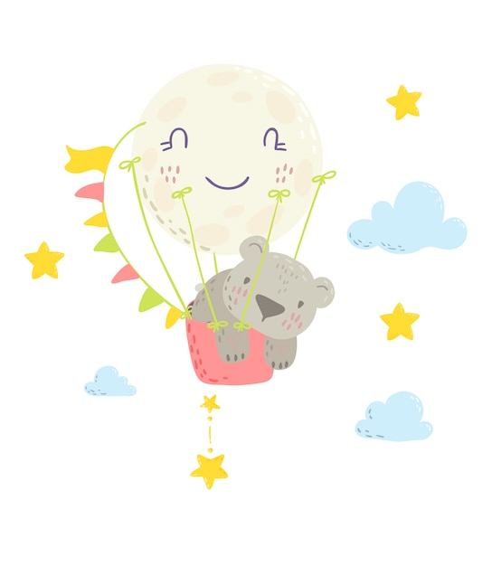 熱気球でかわいいクマさん。 Premiumベクター