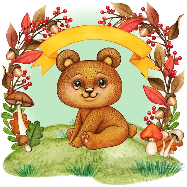 秋の紅葉フレームでかわいいクマさん Premiumベクター