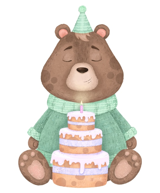 セーター、キャップ、キャンドルのケーキ、誕生日イラストのかわいいクマさん。 Premiumベクター