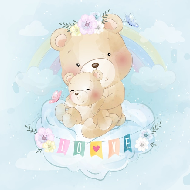 Милый медведь мать и сын Premium векторы