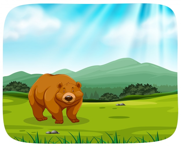 Cute bear in nature Free Vector
