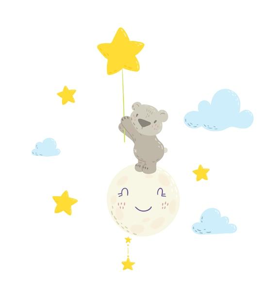 スターバルーンを保持している月のかわいいクマさん Premiumベクター