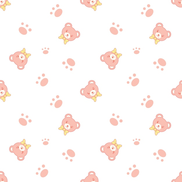 Cute Bear Pattern With Paw Vector Premium Download Awesome Bear Pattern