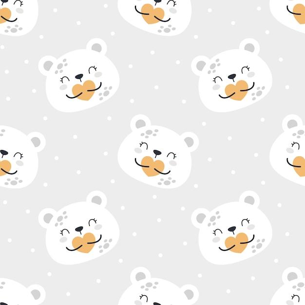 Милый медведь планеты бесшовные модели Premium векторы