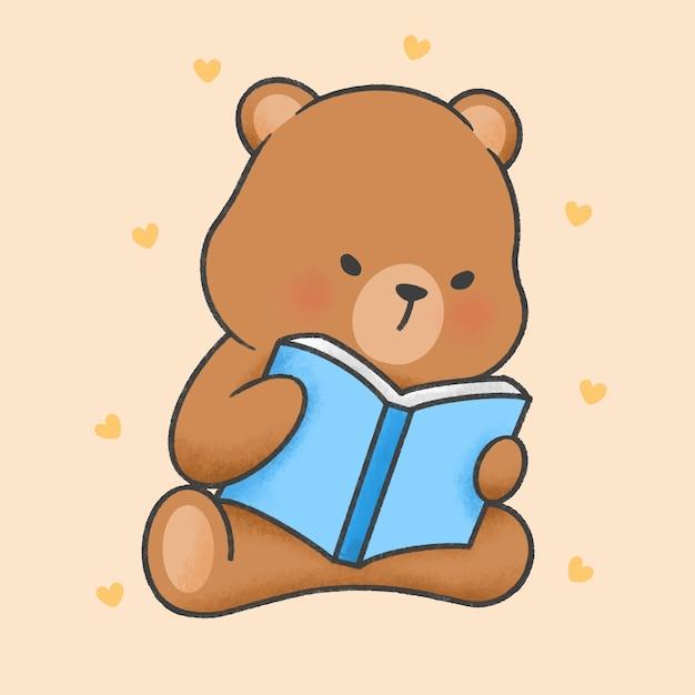Cute bear reading a book cartoon hand drawn style Premium Vector