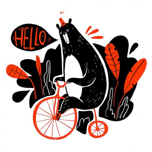 Cute bear riding a bike, collection of hand drawn. Premium Vector