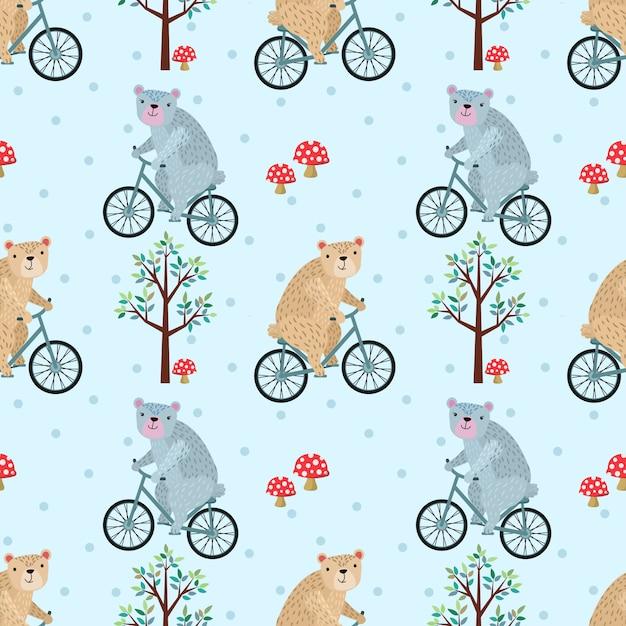 Cute bear riding bike in forest seamless pattern. Premium Vector