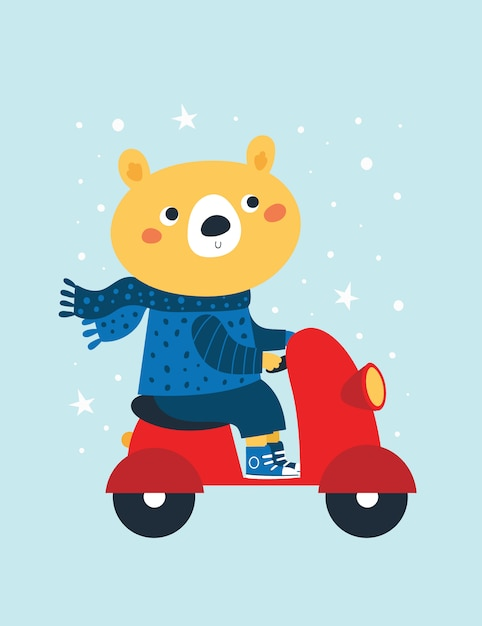 Cute bear in scarf and sweater ride motorbike Premium Vector