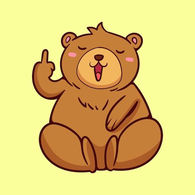 Милый медведь показывает символ ебать тебя Premium векторы